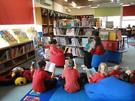 Children in library corner