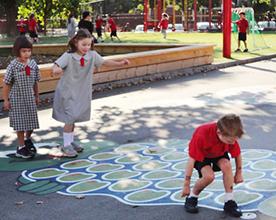 Kids are painting on playground